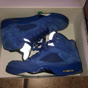 Air Jordan retro 5 Blue Suede and Red Suede